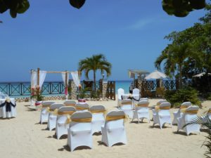 Set up on the beach for a wedding ceremony