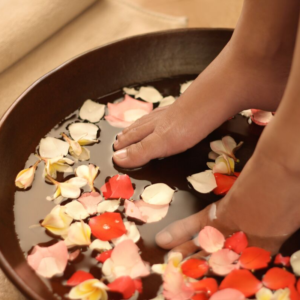 pedicure with blossom petals